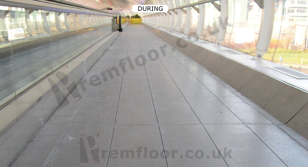 Joints cut around terrazzo floor tiles at manchester airport skybridg