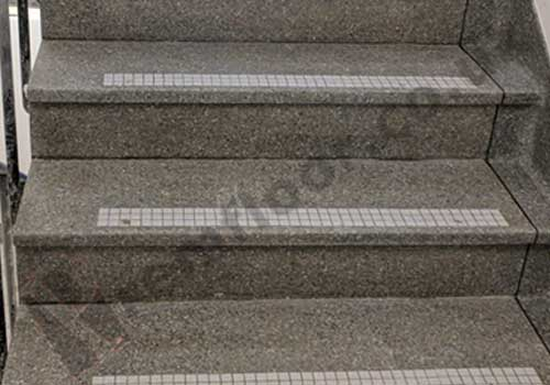 Cleaned, polished and sealed terrazzo staircase in apartment building