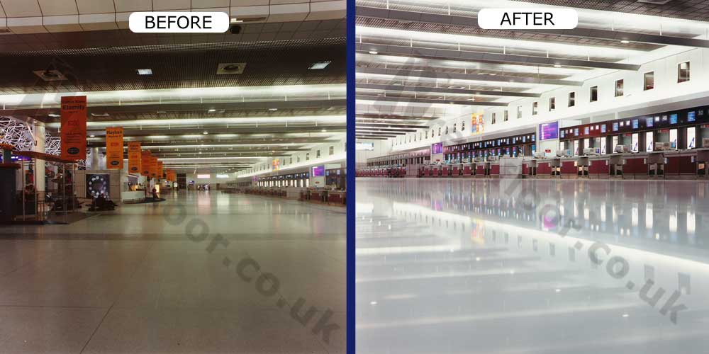 manchester airport terminal 2 before and after terrazzo refurbishment