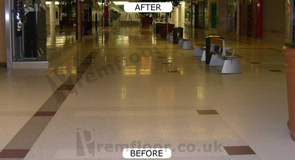Terrazzo floor in a shopping centre during polishing & refurbishment