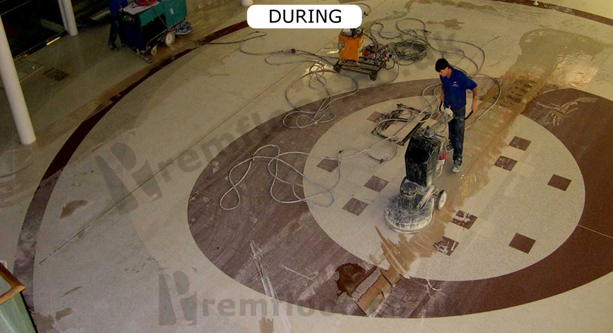 Diamond polishing the centre circle of the Braehead Shopping Centre terrazzo floor
