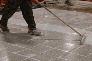 Factory Terrazzo Floor Refurbishment - Tiling & Grinding