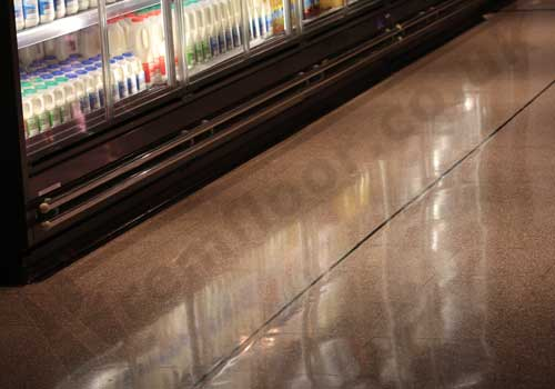Highly reflective terrazzo floor in a convenience shop