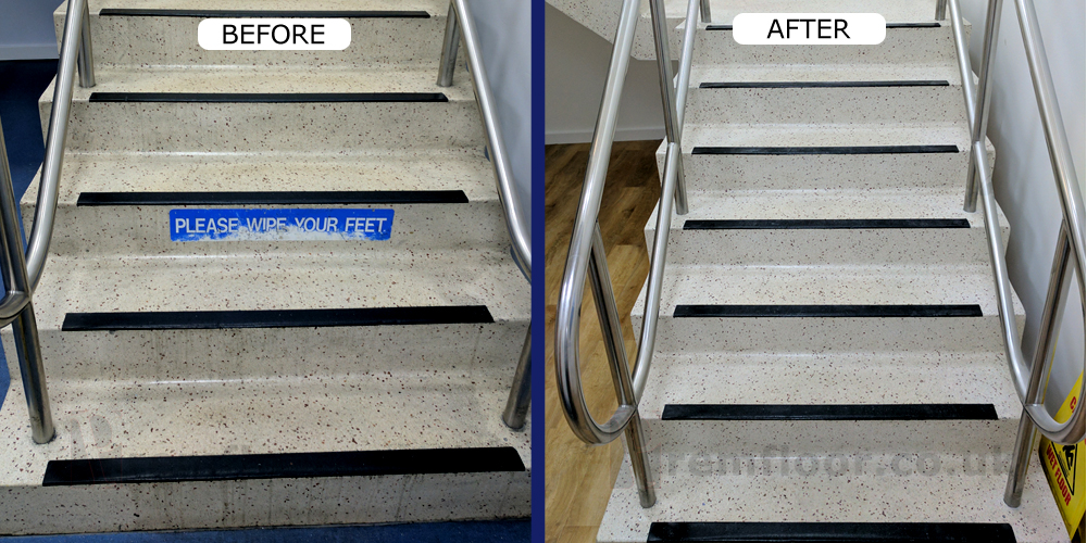 Before and after photo of terrazzo stairs with stains removed and looking brighter