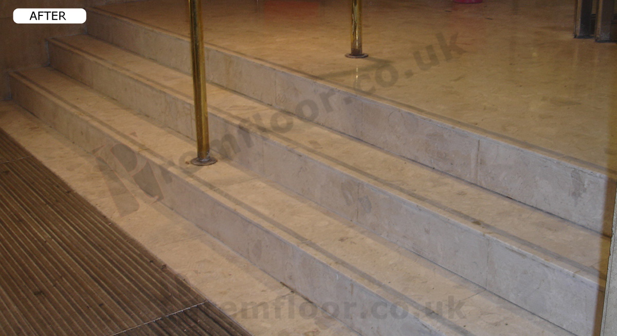 Marble stairs with repaired nosings after refurbishment