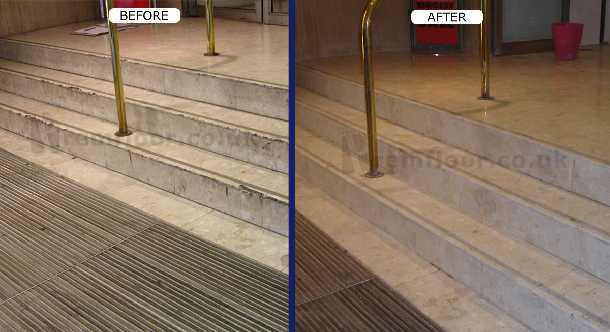 House of Fraser badly damaged staircase before and after restoration