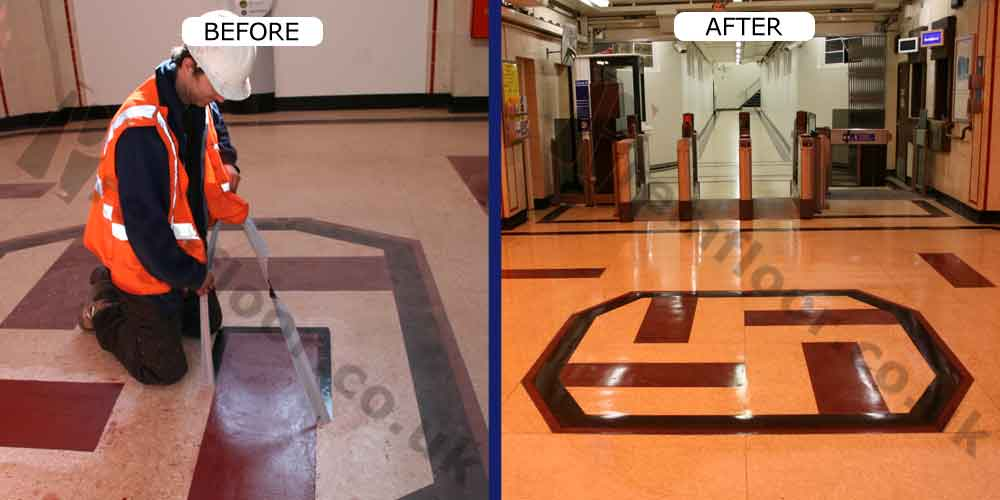before and after photo showing premfloor operative restoring upminster bridge station removing tape from red shape