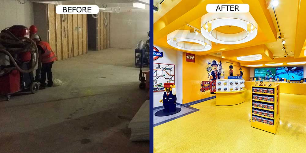 Lego Resin Terrazzo Floor in Leicester Square, before and after