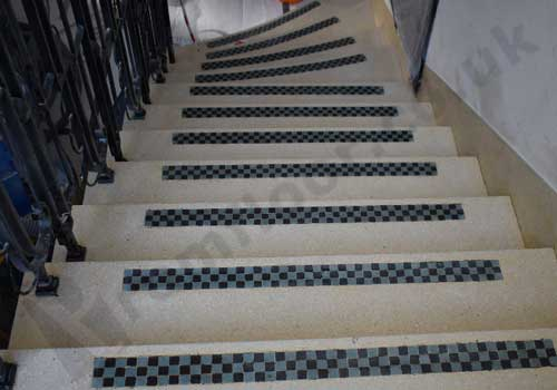 Polished & sealed terrazzo staircase