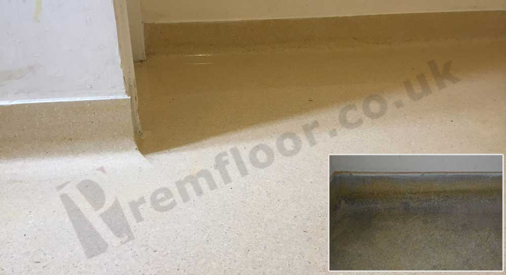 Close up of cleaned terrazzo restoration with a picture of coving before