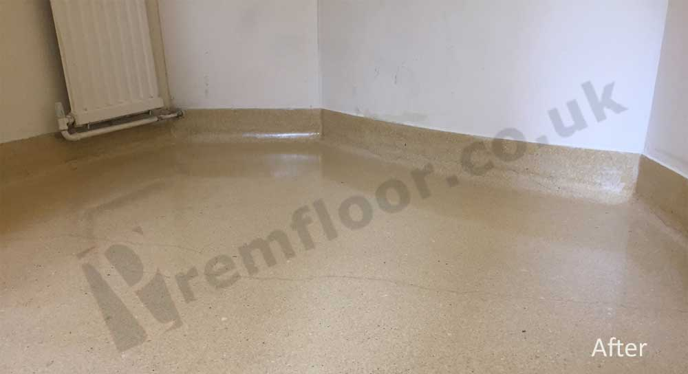 Terrazzo toilet after cleaning and refurbishment