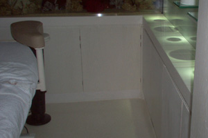 White terrazzo floor in luxury london treatment room