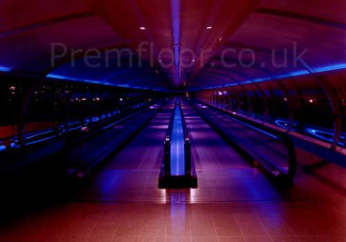 Manchester airport skybridge at night