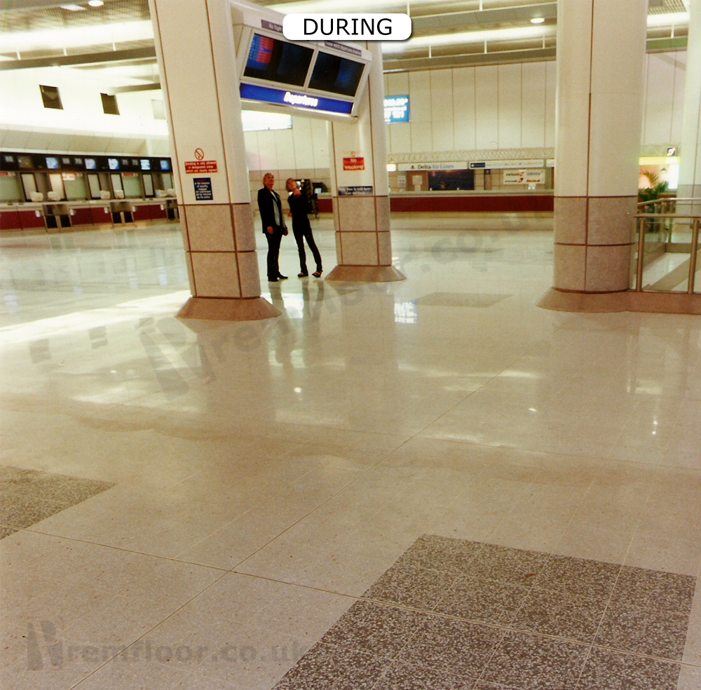 manchester airport terminal 2 departure lounge during terrazzo refurbishment