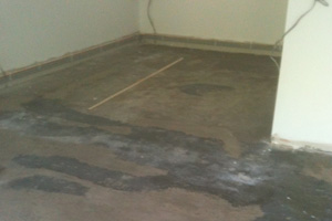 Existing sand cement screed strengthened and repaired and primed with epoxy resin