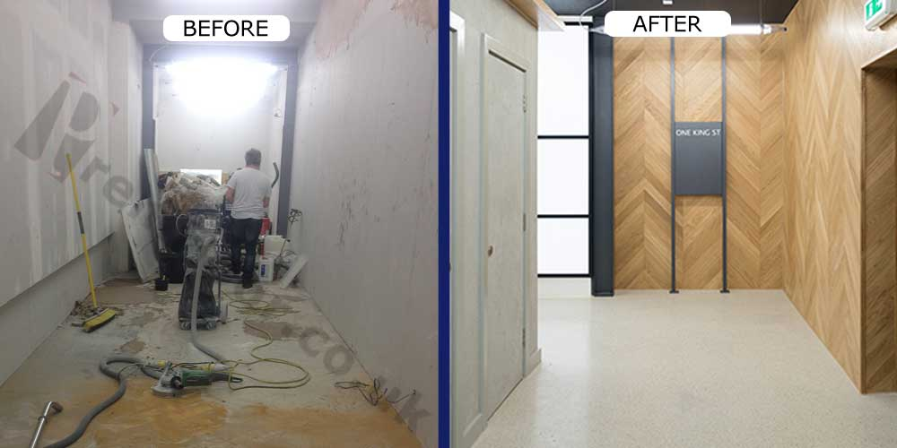 Before & after of manchester office terrazzo
