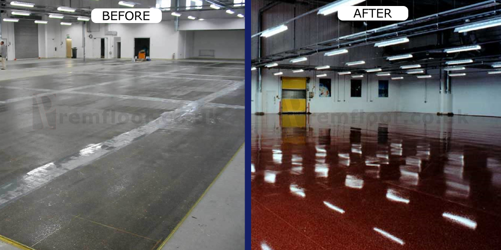Before/After of resin terrazzo floor in pharmaceutical factory