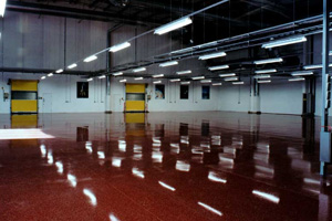 Red resin terrazzo floor in a pharmaceutical factory