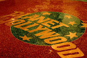 Planet Hollywood Terrazzo Floor with brass lettering
