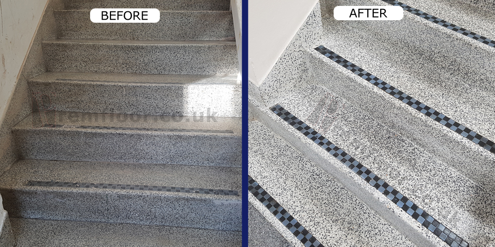 Superieur Before And After Terrazzo Staircase Restoration In A Reception ...