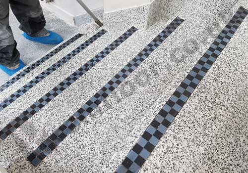 Terrazzo staircase in office reception during sealing