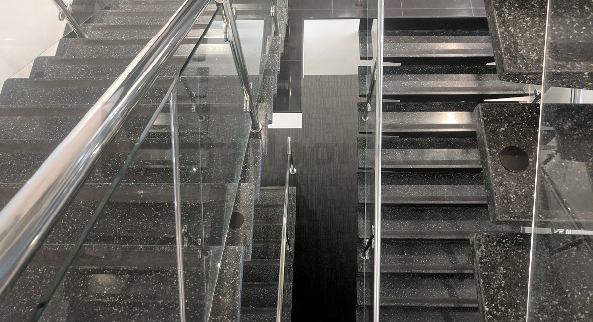... Top Down Shot Of Existing Staircase With Recreated Terrazzo Staircase  Below ...
