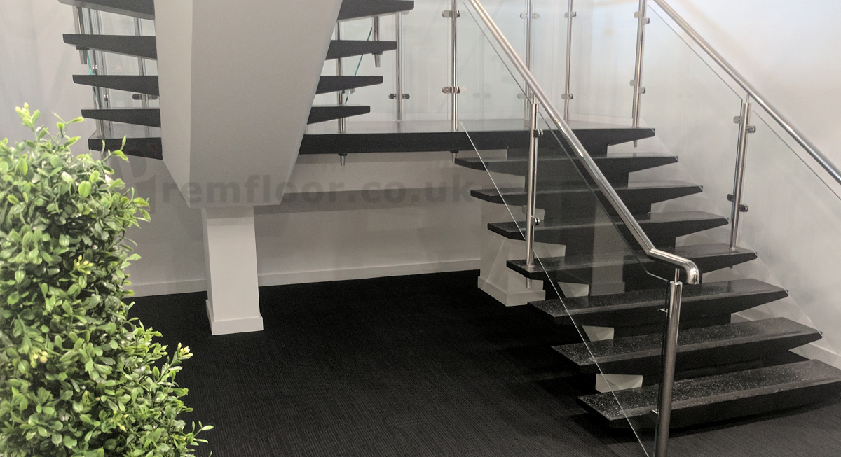 ... Wide Shot Of Finished Resin Terrazzo Staircase In Office Environment ...