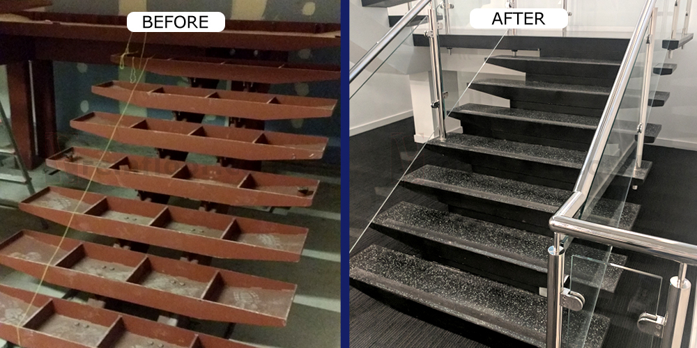 Before And After Photo Showing Installation Of Resin Terrazzo Stair Treads  U0026 Landing In Situ