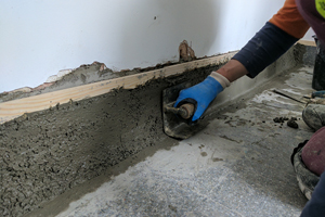 Operative cutting joints during a supermarket terrazzo refurbishment