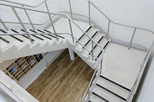 Completed restoration of a 3 flight terrazzo staircase