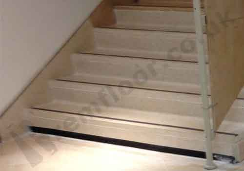 Newly installed set of terrazzo stairs