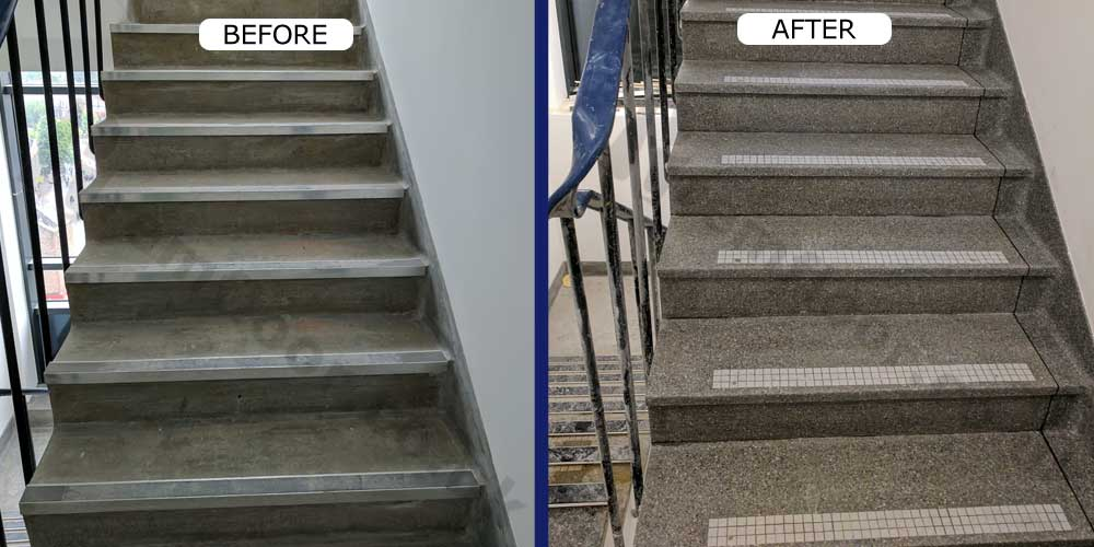 Before and after terrazzo staircase renovation in apartment block