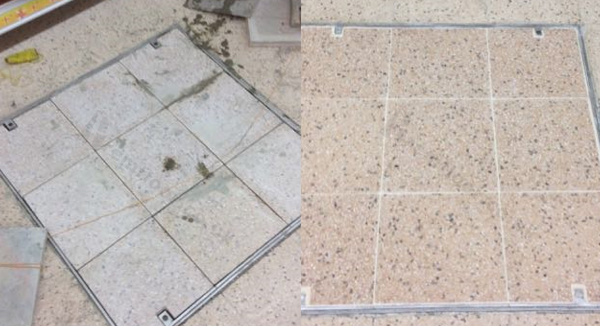 During and after retiling an access cover in the floor with terrazzo tiles