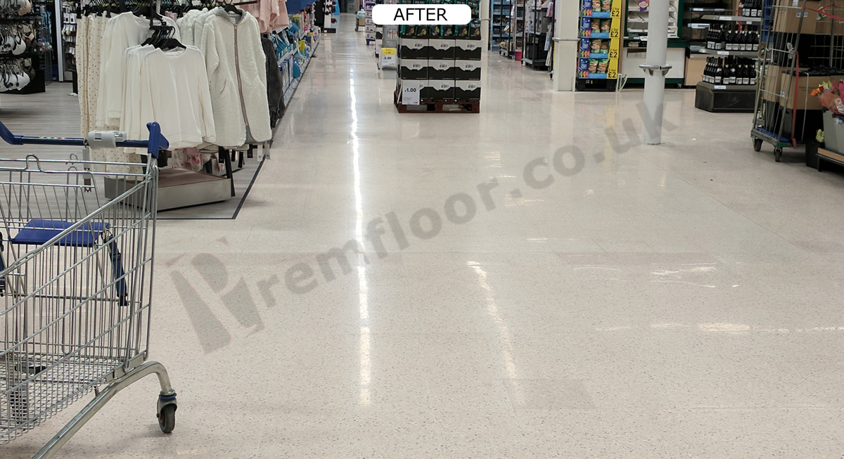 Diamond polished and sealed terrazzo floor in supermarket