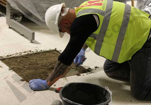 Shopping Centre terrazzo refurbishment - protecting the environment with polythene