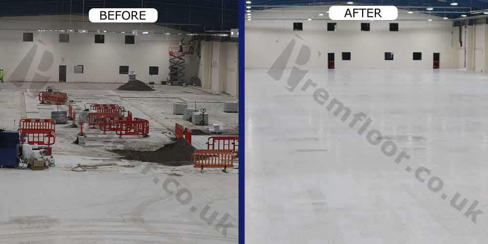 Before and after terrazzo floor refurbishment in large factory