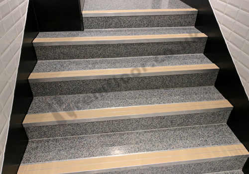 Pre-cast resin terrazzo stairs fitted with nosings