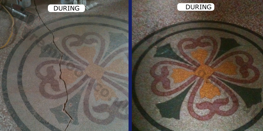 Showing during and after restoration of logos in terrazzo floor