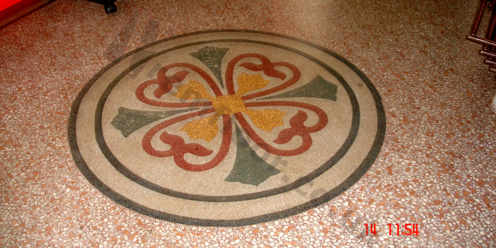 After refurbishment of terrazzo pattern in a town hall