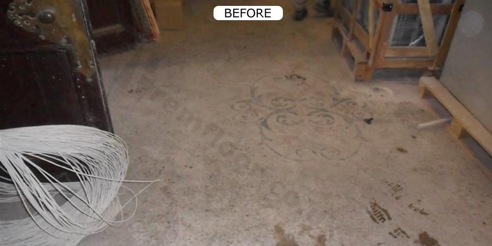 Dirty and damaged terrazzo floor in a town hall before restoration