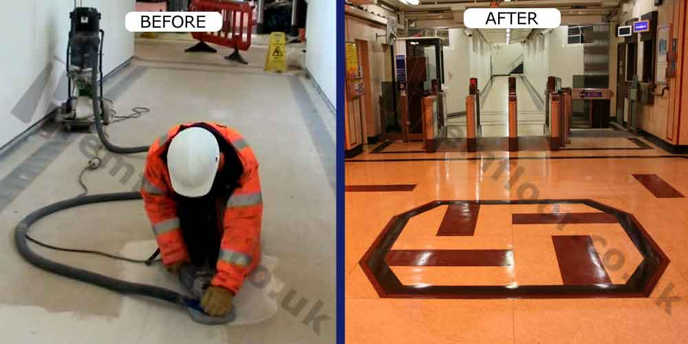 Before and after refurbishment of terrazzo at upminster bridge train station