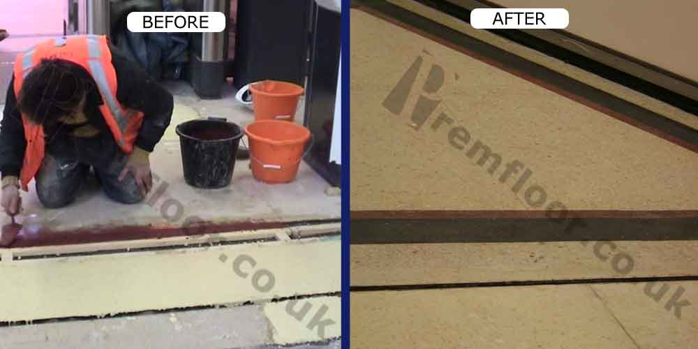 During and after laying in-situ cementitious yellow and red terrazzo